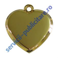 Pandantiv inima, 23x22mm, placat cu Aur, 3-D
