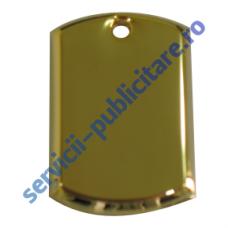 Dog Tag 17x27mm, placat cu Aur, 3D