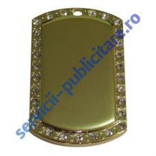 Dog Tag 29x50mm, placat cu Aur si pietre semipretioase