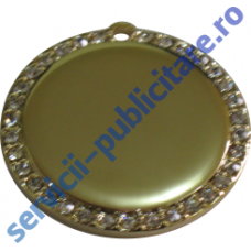 Pandantiv rotund 32mm placat cu Aur si pietre semipretioase