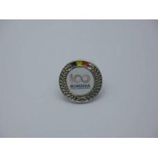 Insigna cu pin metalica  Romania 100 - Sarbatorim impreuna