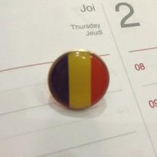 Insigna cu pin rotunda cu Steagul Romaniei