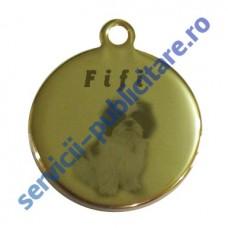 Pandantiv rotund 17mm placat cu Aur, gravat