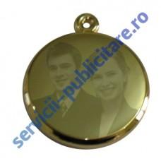 Pandantiv rotund 23mm 3D placat cu Aur, gravat